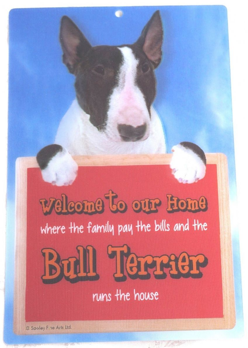ENGLISH BULL TERRIER BRINDLE 3D WELCOME SIGN STUNNING EYE CATCHING 23CM X 15CM